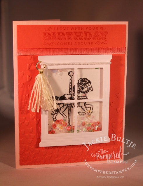 Carousel Birthday card using the Cupcakes and Carousels Embellishment kit and the Falling Petals Embossing Folder