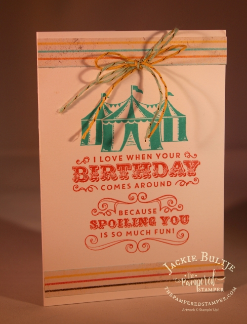 This notecard uses the Cupcakes and Carousel suite: the paper stack, the embellishment kit and the stamp set.