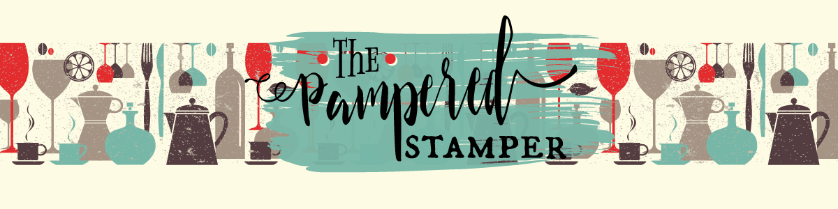 "The Pampered Stamper header graphic. Vintage pattern of wine glasses, carafes, coffee cups with ""The Pampered Stamper"" logo."