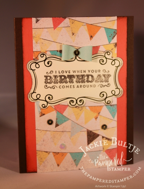 Cupcakes and Carousels clean and simple card uses the coordinating embellishment kit.