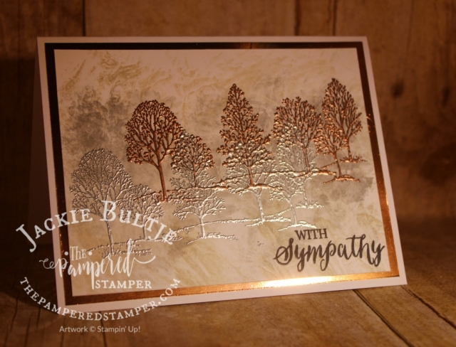 Clean and simple Lovely as a Tree technique card with no ribbon to distract from the beauty of the image.