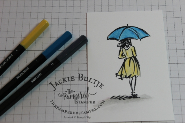 Beautiful You is a perfect stamp set to use with your Watercolour Pencils. Here I used Pacific Point and Daffodil Delight as well as Basic Gray.
