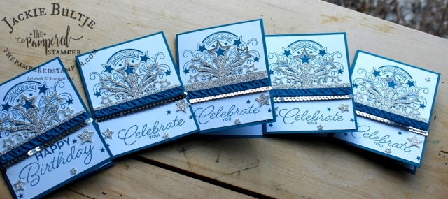 Dapper denim, silver glimmer paper and silver sequins pair up beautifully with Birthday Blast to make a super easy but very striking card in just a few minutes.
