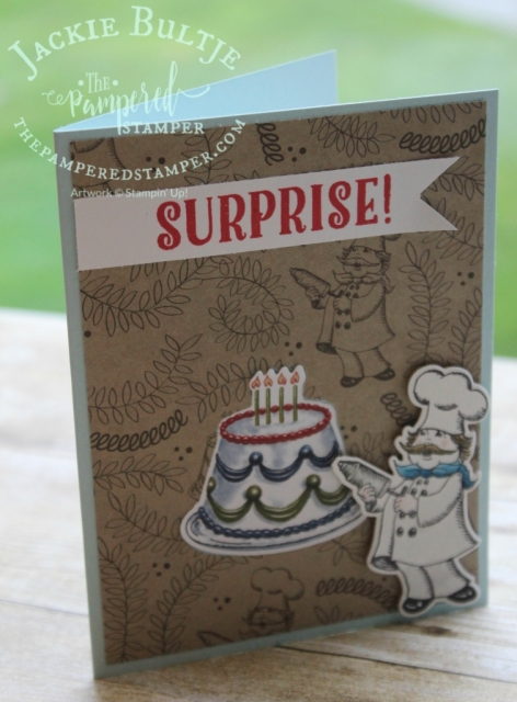 This card uses the chef image and the cake. The cake is from the designer series paper and the chef is a stamp. Both are cut using framelits. How easy is that?