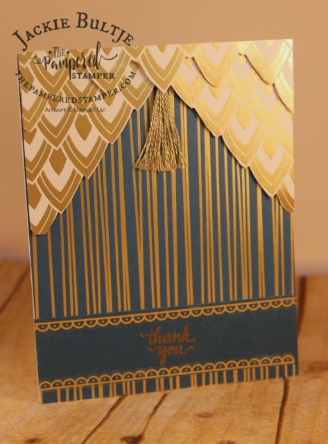 Cut the specialty paper to make a unique card front.