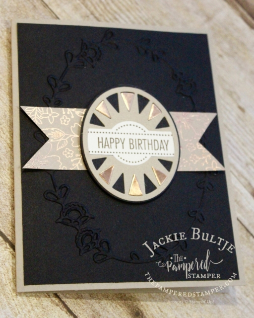 An elegant combination of copper, black and crumb cake. Paper is from the Affectionately Yours specialty designer series paper. Framelit and stamp from That's the Tag bundle.