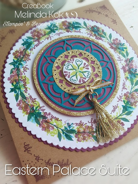 Gorgeous vintage card using Eastern Palace suite and Blooms and Wishes.
