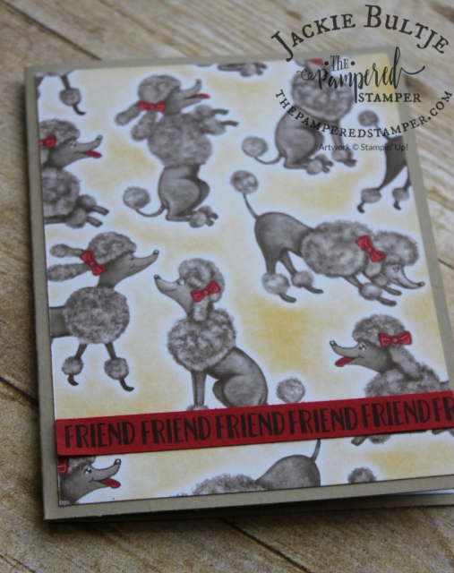 "The poodle card is also very simple with just a piece of patterned paper and a strip of red card stock stamped with the word ""friend"" that is in the stamp set."