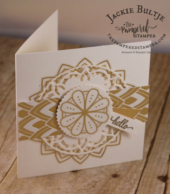 Gold stickers and framelits combined with Eastern Palace specialty paper make for a stunning card.