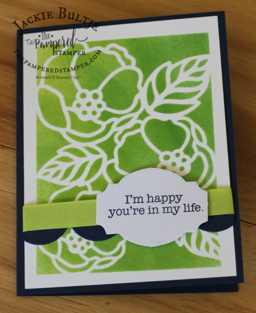 Soft Sayings die cut used as mask with lemon lime twist and foam brayer