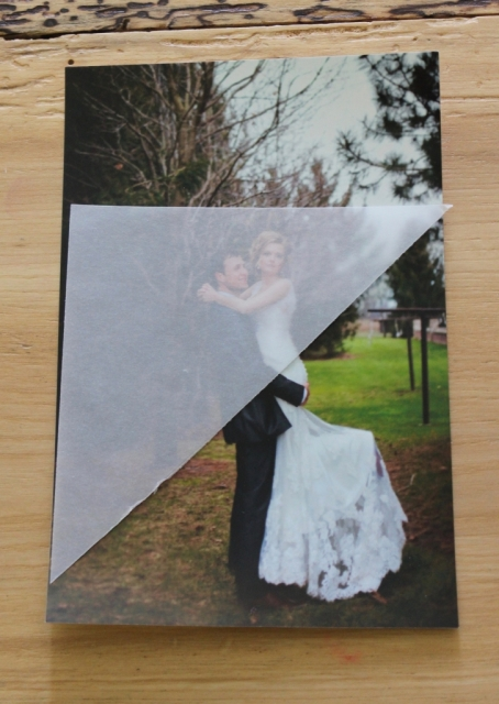Use this vellum triangle to save mistakes when cropping your pictures for this squash book.