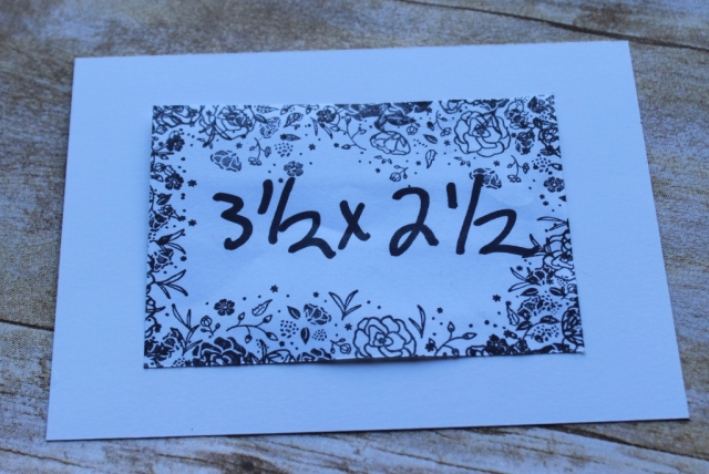Use this mask (normally it is plain white but I have already used it) to make a patterned frame around your sentiment.