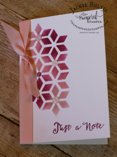 Soft Sayings card kit die cut used as a mask with berry burst and powder pink.