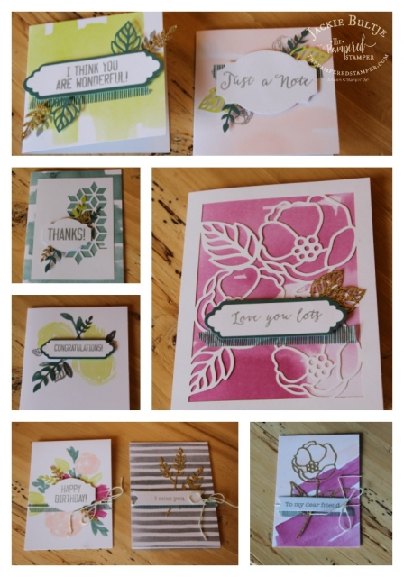 Collage of some of the cards you can make with the Soft Sayings Card kit