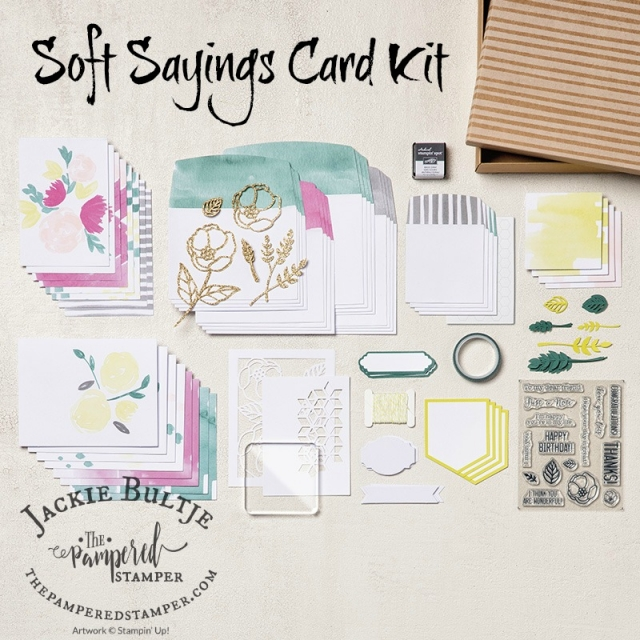 All the elements from the Soft Sayings Card kit.