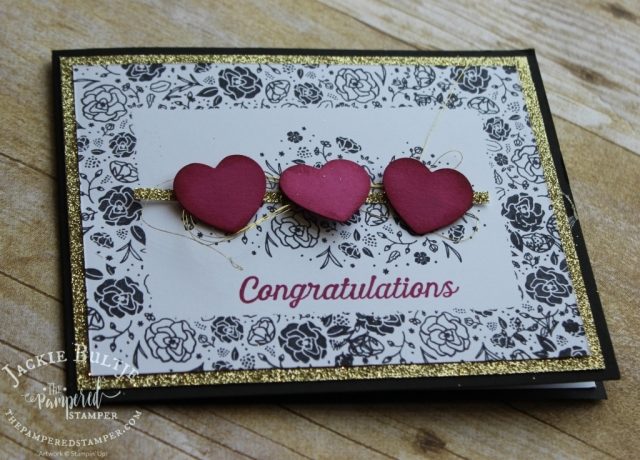 Gold thread, gold glimmer paper and berry burst hearts combine with Wood Words for a great card.