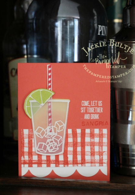 Sangria instead of coffee? Or a tequila sunrise? Use Balloon Celebrations or Labeler Alphabet to customize your card.