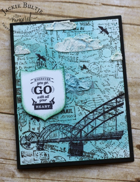 Collage stamping with Post Script and Wherever You Go.
