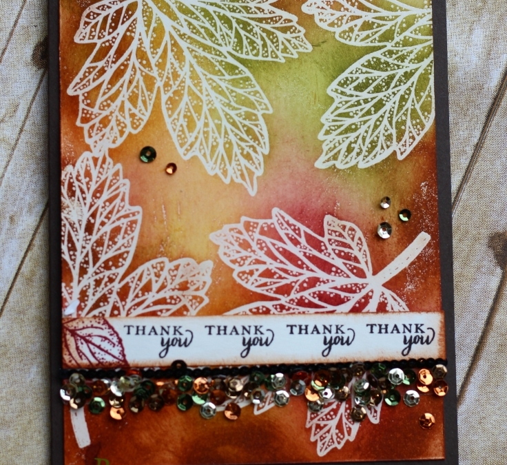 Beautiful Autumn Leaves with Paper Pumpkin