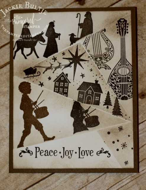 I used three different Christmas sets to make this card: Night in Bethlehem,Hearts come Home and Musical Season.