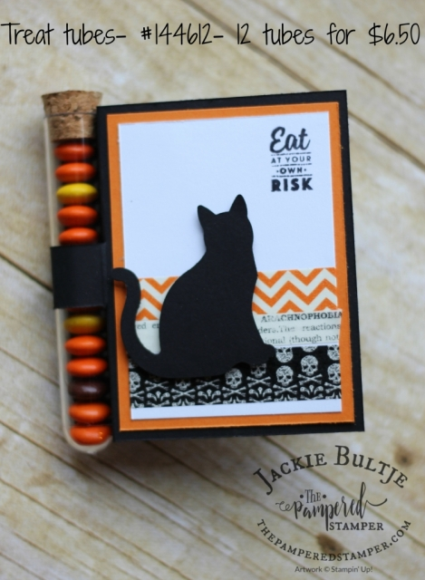 Spooky cat, treat tubes and washi tape make for a quick and easy card.