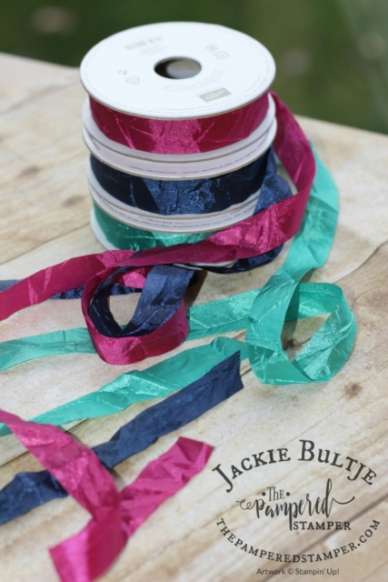 Berry burst, emerald envy and night of navy ribbon.