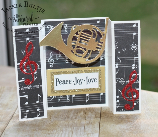Musical season bridge fold card using Merry Music specialty paper.
