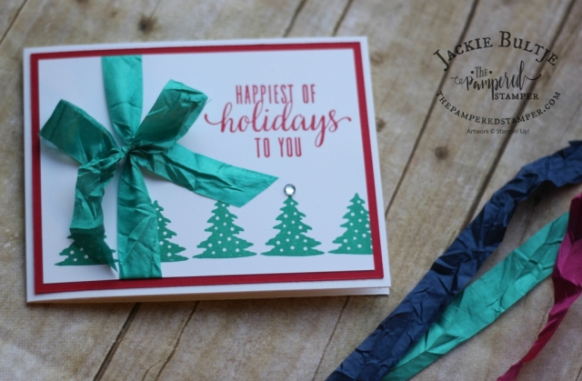Emerald Envy crinkled seam binding ribbon is the perfect accent for this clean and simple card.