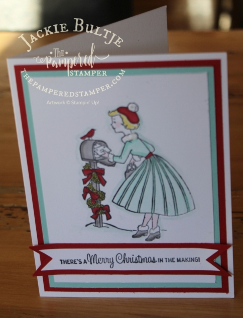 Retro Christmas card using Blends and Christmas in the Making