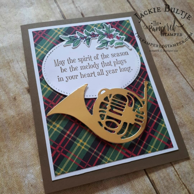 Plaid paper from Christmas Around the World plus dies from Musical Intsruments make for a beautiful Christmas card.