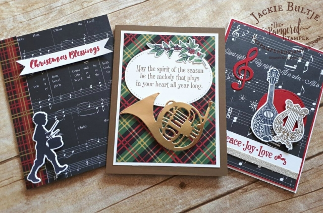 French horn, little drummer boy and the harp are all great accents from Musical Season.