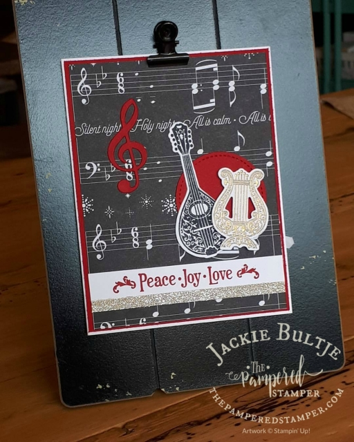 Stitched framelits and musical instruments framelits combine for a fabulous Christmas card that is also fairly quick and easy.