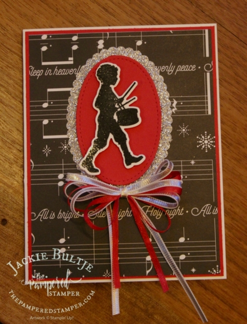 Stitched framelits and silver glitter paper make for a great musical Christmas card.