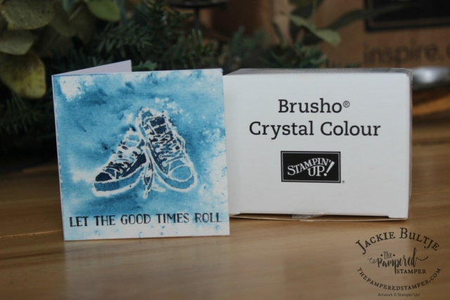 Great card for a teenager! Brusho and clear embossing with Epic Celebrations and Let the Good Times Roll on watercolour paper.