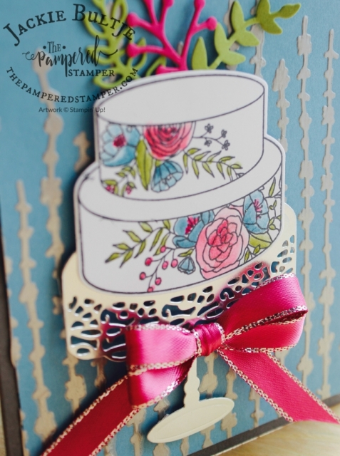Berry Burst ribbon and wink of stella watercolouring make for a stunning card.