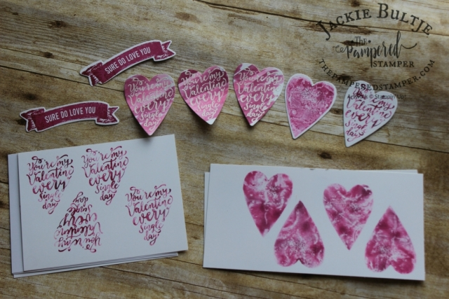 "Funky hearts with baby wipe ""ink pad"""
