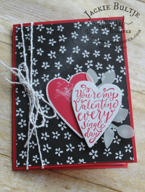 This red and black Valentine's Day card combines Sure do Love You with Petal Palette.