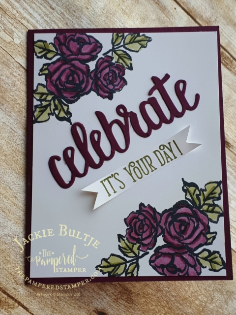 Celebrate You thinlit dies and Petal Palette with Blends make for a lovely card.