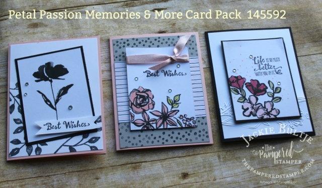 Powder pink shimmer ribbon is exquisite with the Petal Passion card pack