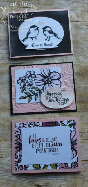 Powder pink, basic black and whisper white is such a pleasing combination for this Petal Passion Memories and More collection