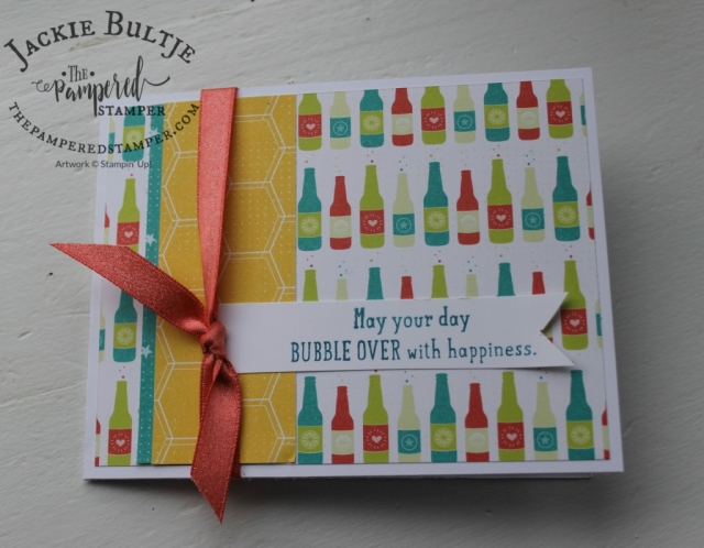Simple card using Bubbles and Fizz free paper and the #loveitchopit method