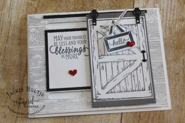 Pinewood Plank embossing folder pairs up with Barn Door bundle for the best card ever!