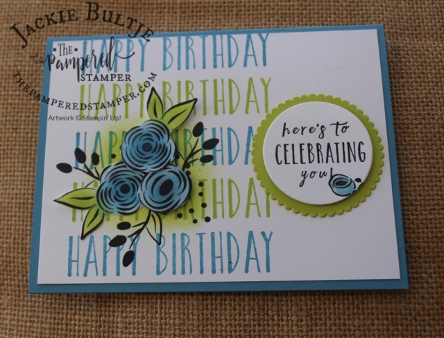 Happy birthday card using Perennial Birthday. The stamparatus will make this a very easy card to make!