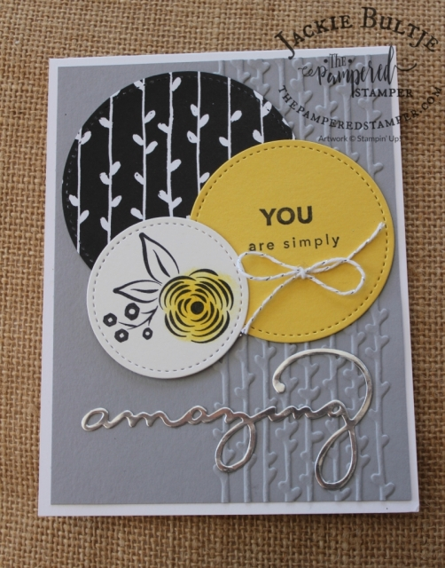 Daffodil delight, smoky slate and basic black for a stunning Perennial Birthday card.