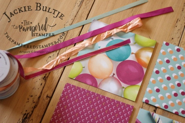 Picture Perfect Party dsp, berry burst metallic edge ribbon, pool party shimmer ribbon, peekaboo peach crinkled ribbon and berry burst finely woven ribbon are a great base for some beautiful but simple cards.