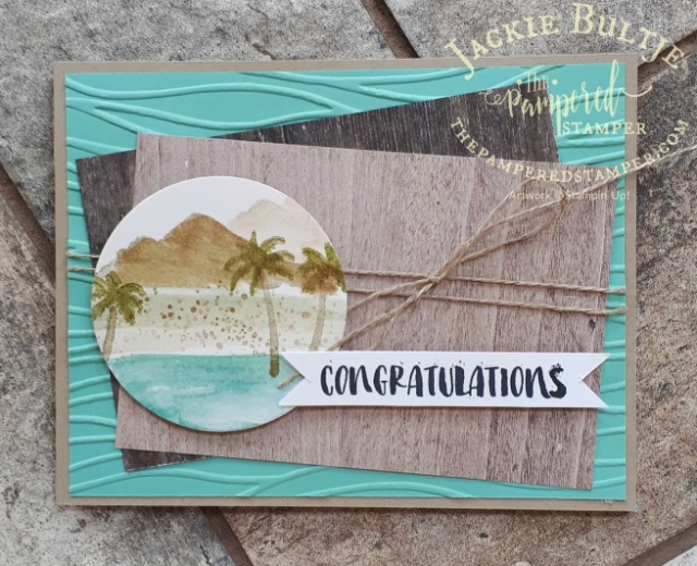 Using the palm trees for a more tropical feel for this Waterfront card.