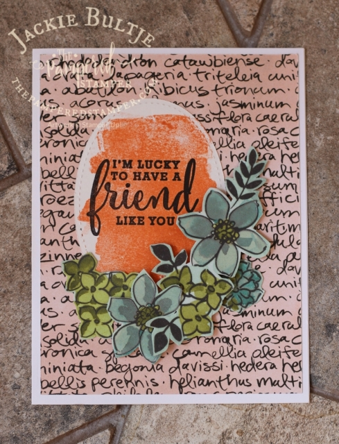 Grapefruit Grove is the main attraction here with the watercolour background stamp from Love What You Do.