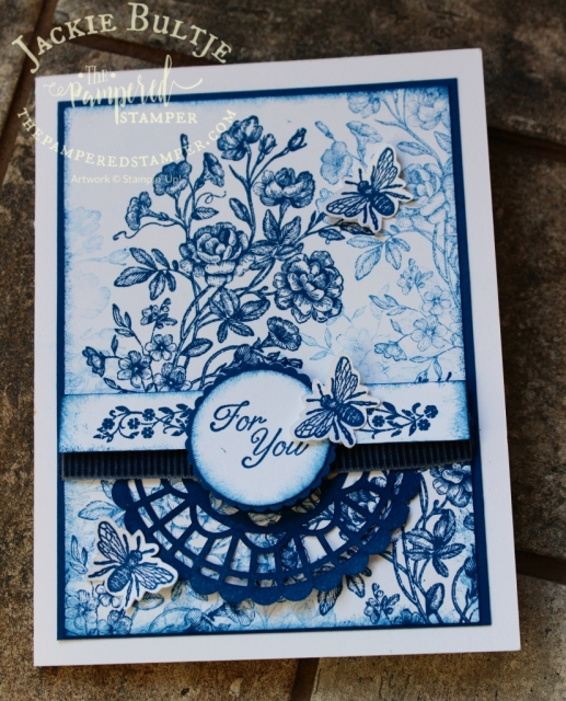 Collage stamping with Very Vintage in Blueberry Bushel.