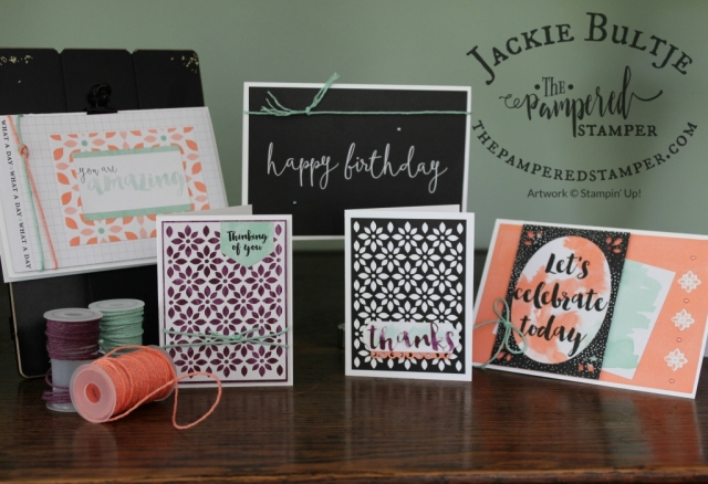 Mint macaron, grapefruit grove and blackberry bliss and the colours used in this card collection.