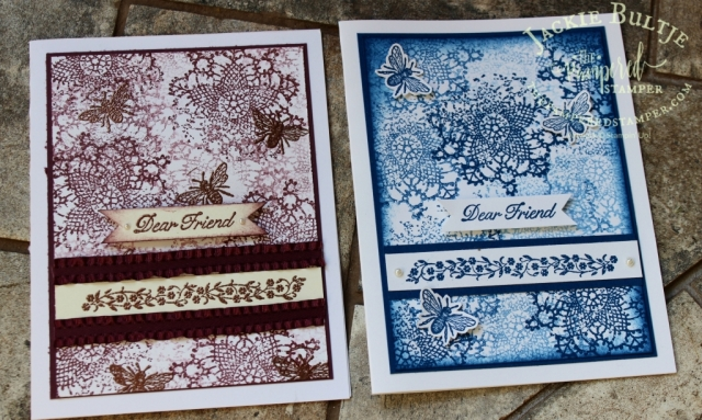 Using the lace stamp and the insect make an easy collage by repeatedly stamping these images in the same colour ink.